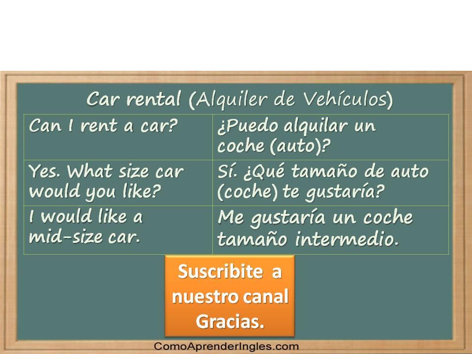 Cómo alquilar un vehículo en inglés usando vídeos para aprender inglés.